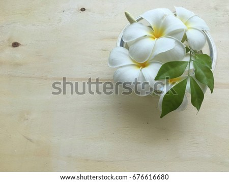 Flower arrangement, Frangipani flower in bowl on the wooden board.