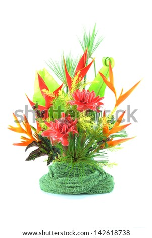 Flower arrangement with tropical flowers. - stock photo