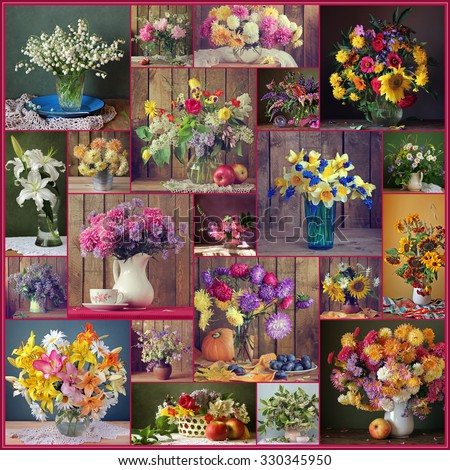 Flower background. A collage from still lifes with bouquets. Lily, sunflower, camomile, aster, chrysanthemum, narcissus, peony, lilac, tulip.