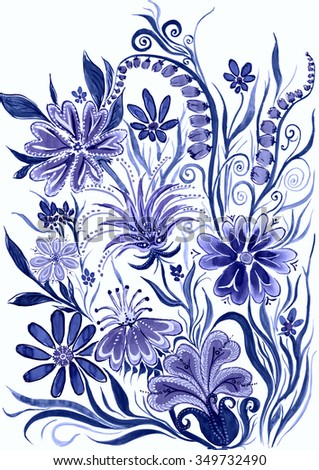 flower background blue toned - watercolor painting on paper - stock photo