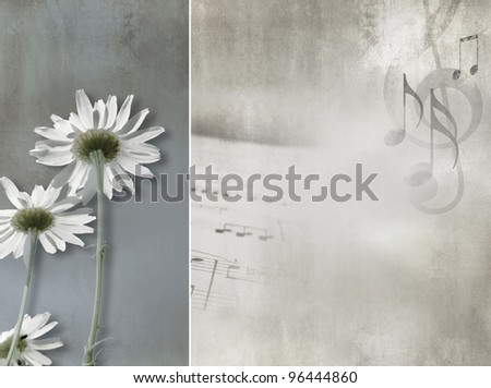 Flower background vintage design - abstract daisies - stock photo