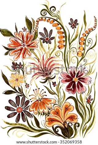 flower background - watercolor painting on paper - stock photo