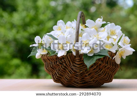 flower basket standing on table in the garden  - stock photo