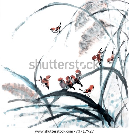 flower-bird painting .Traditional Chinese Painting. - stock photo