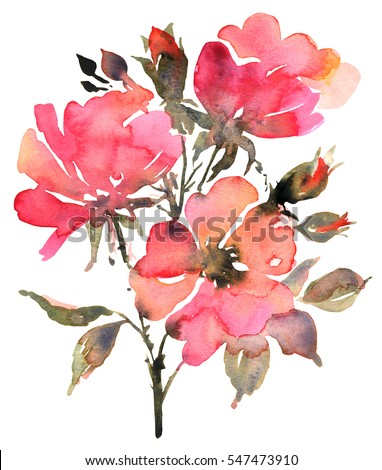 Flower bohemian bouquet with red roses. Watercolor illustration