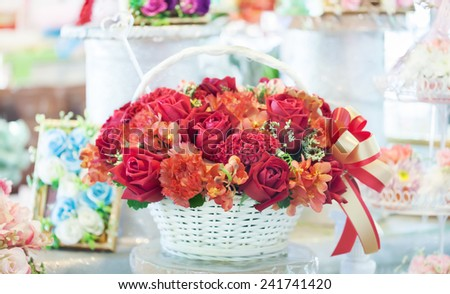 flower bouquet basket gift  - stock photo