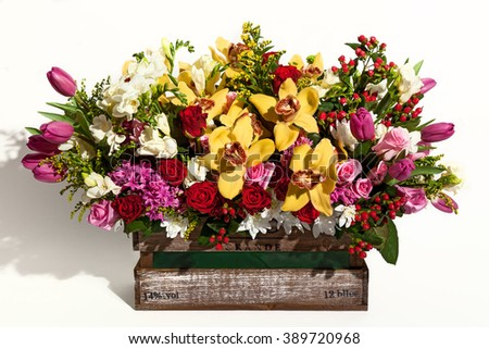 Flower bouquet composition for the holiday, spring bouquet of flowers for your favorite, festive bouquet of flowers for a wedding, hyacinths, flower Brunei, Tulips,Archimedes , roses,chrysanthemums