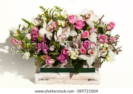 Flower bouquet composition for the holiday, spring bouquet of flowers for your favorite, festive bouquet of flowers for a wedding, hyacinths, flower Brunei, Tulips,Archimedes , roses,chrysanthemums - stock photo