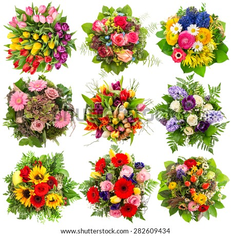Flower bouquet for spring and summer holidays. Floral objects isolated on white background - stock photo