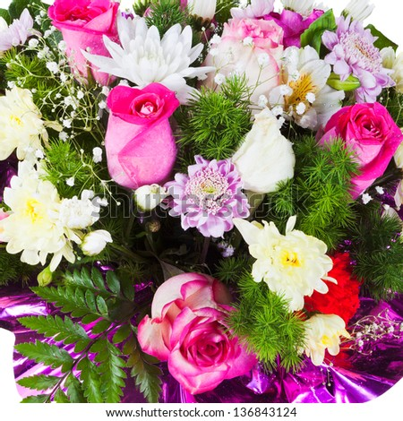 flower bouquet from chrysanths and tea roses close up - stock photo