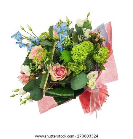 Flower bouquet from multicolored roses, iris and other flowers isolated on white background. Closeup. - stock photo