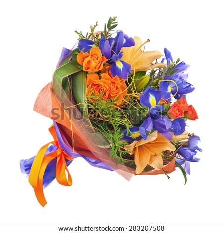 Flower bouquet from roses, lilies, iris  and other flowers isolated on white background. - stock photo