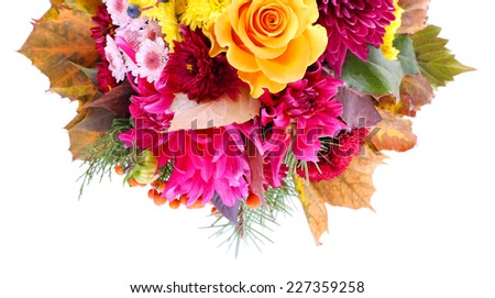 Flower bouquet isolated on white - stock photo