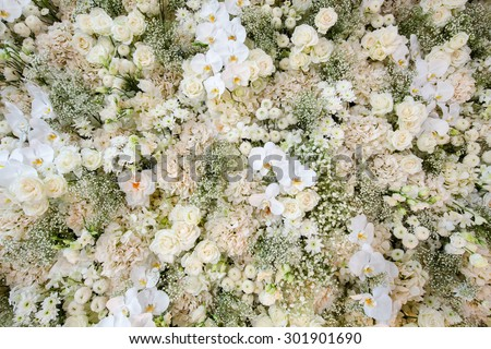 flower bouquets , bunch of flowers,Green and white - stock photo