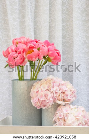flower bouquets , bunch of Pink Peony and Hydrangea flowers - stock photo