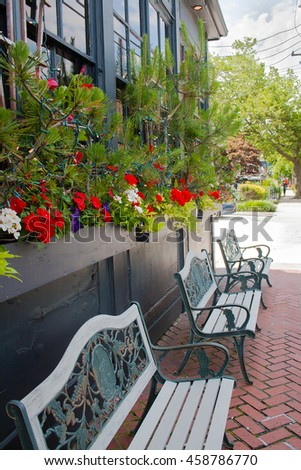 Flower box and benches in Cape May, New Jersey