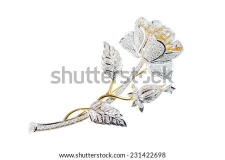 flower brooch on white background - stock photo