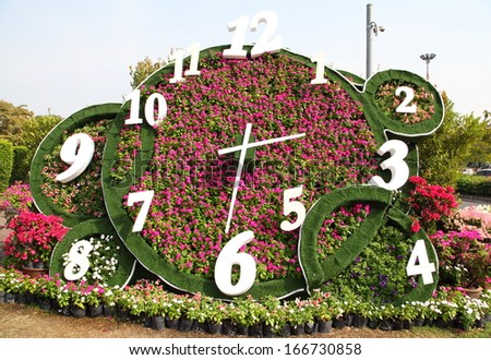 Flower clock in the public park.  - stock photo