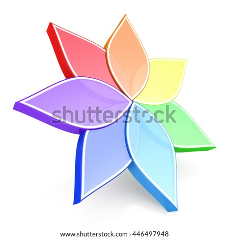 Flower Color Wheel 3D In The Design Of Information Related To Plants 3d Illustration
