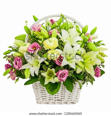 flower composition in basket isolated on white background - stock photo
