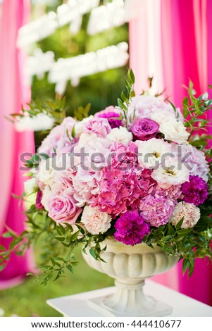 flower composition of hydragea, carnation and roses