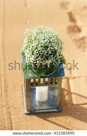 flower decorate of wedding place on a tropical beach, Thailand - stock photo