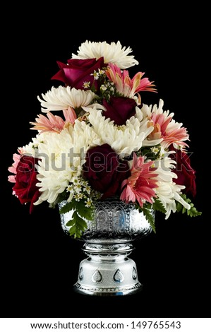 Flower decorated on tray with pedestal isolated.