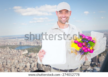 Flower delivery man showing clipboard against new york - stock photo