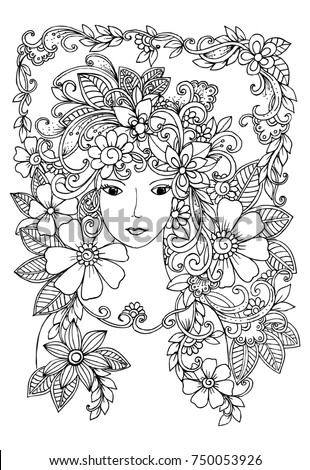 Flower Fairy Black And White Floral Pattern For Adult Coloring Book Doodle Drawing