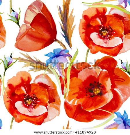 Flower field poppy - stock photo