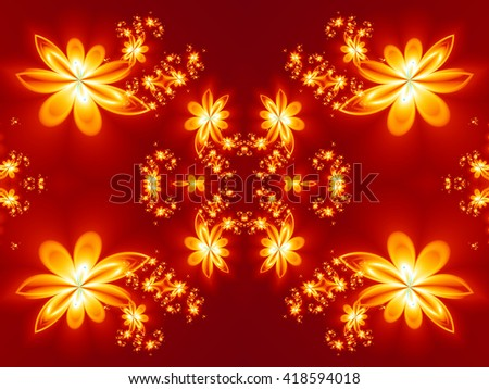 Flower fire pattern in fractal design. Artwork for creative design, art and entertainment.  - stock photo