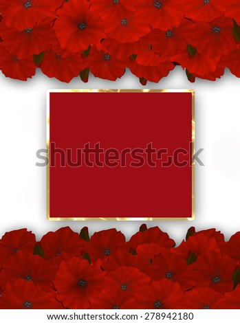 Flower frame. Floral border. Bouquet of red poppy. - stock photo