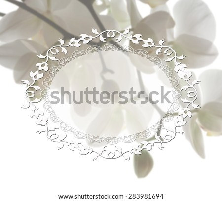 Flower frame. Floral border. Bouquet of white pure soft orchids - stock photo