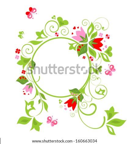 Flower frame. Raster copy - stock photo
