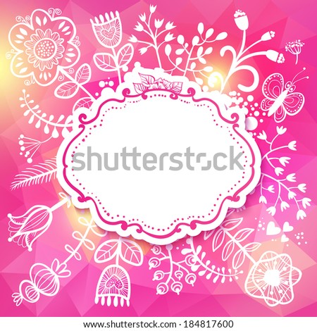 Flower frame. Raster version. illustration, can be used as creating card, wedding invitation, birthday, valentine's day and other holiday and summer or spring background. - stock photo