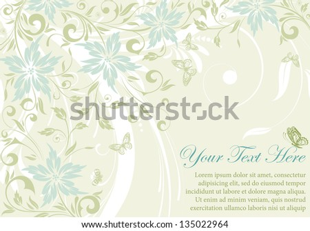 Flower frame with butterfly, element for design, illustration