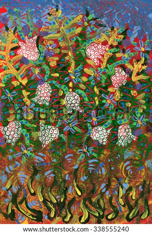 Flower Garden. Art abstract colorful painted - stock photo