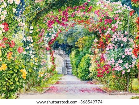 Flower garden. Watercolor illustration. - stock photo