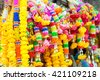 Flower Garlands for Buddha Religious Ceremony - stock photo