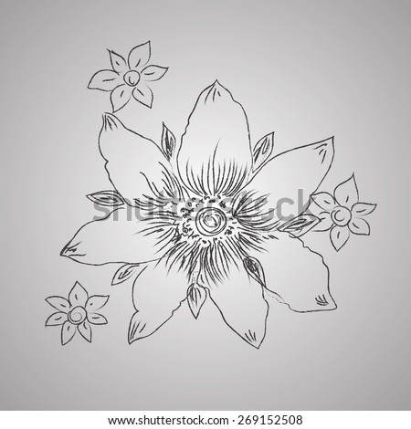 flower, hand, drawings, sketch, decorative, clip art - stock photo