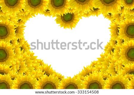flower heart frame - stock photo