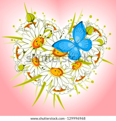 Flower heart of daisies with  butterfly on a pink background. valentine card. raster version - stock photo