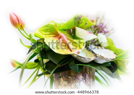 Flower holiday decoration, beautiful blooming bouquet - stock photo
