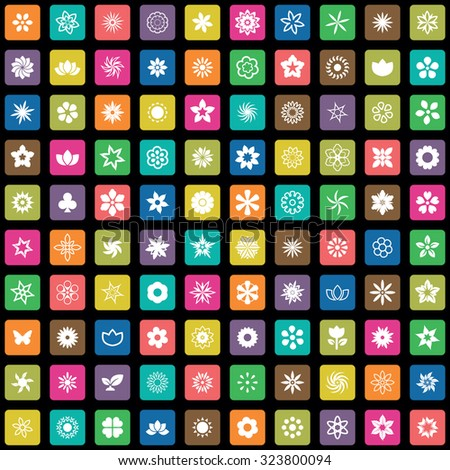 flower 100 icons universal set for web and mobile