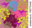 flower illustration with hummingbirds - stock