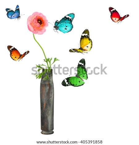 Flower in the cartridge case and colorful butterflies. Revival. Isolated on a white background - stock photo
