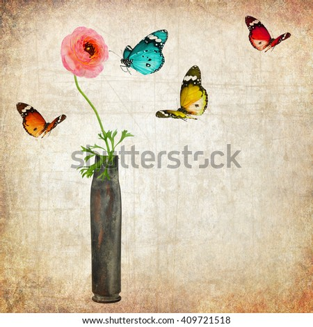 Flower in the cartridge case and colorful butterflies. Revival. Old paper texture background. Vintage style image - stock photo