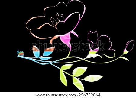 Flower in variegated colors with a tiny snail sitting on the end of the branch  - stock photo