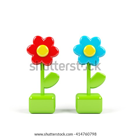 Flower isolated on white. 3D rendering image. - stock photo