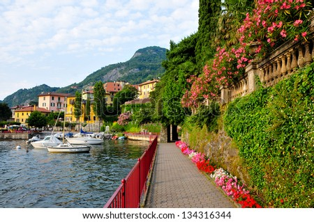 Flower lined walkway in Varenna, Italy